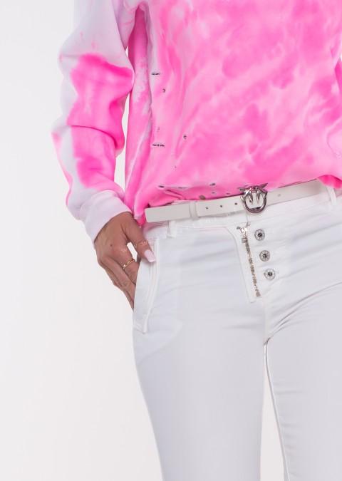 Włoskie jeansy LAGGIO ZAMEK&GUZIKI białe