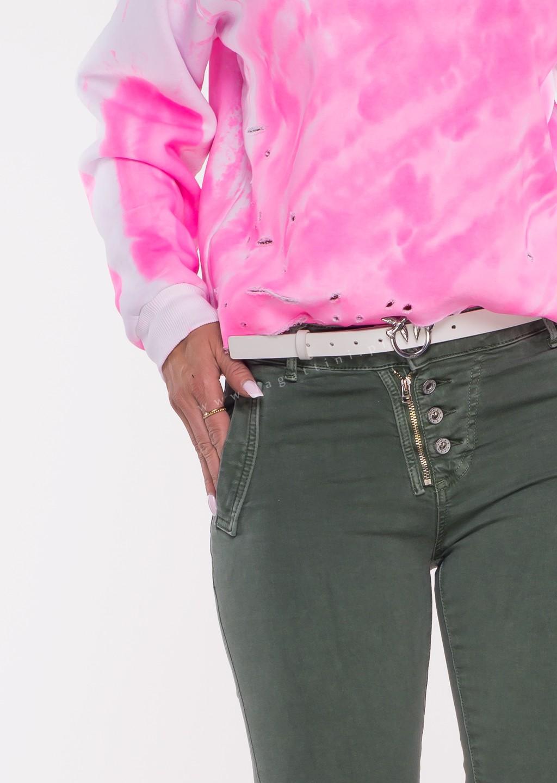 Włoskie jeansy LAGGIO ZAMEK&GUZIKI khaki