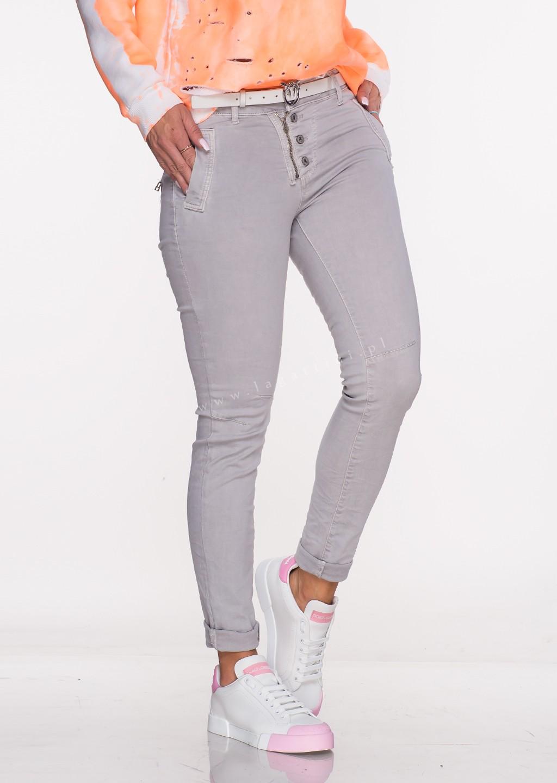 Włoskie jeansy LAGGIO ZAMEK&GUZIKI jasny szary /29