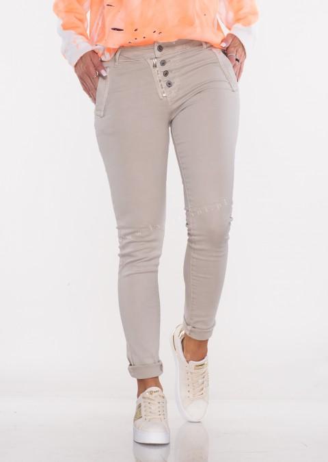 Włoskie jeansy LAGGIO ZAMEK&GUZIKI beżowy /38