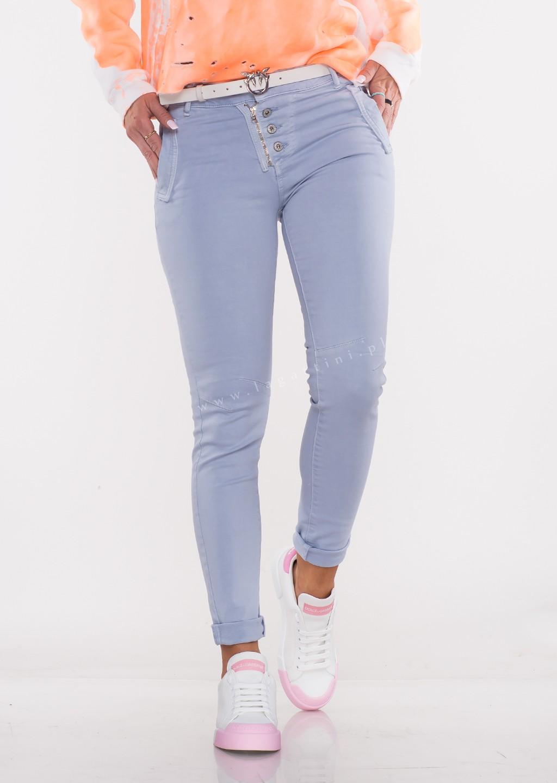 Włoskie jeansy LAGGIO ZAMEK&GUZIKI niebieski/fiolet /37