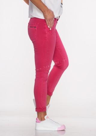 Włoskie jeansy LAGGIO ZAMEK&GUZIKI malinowy