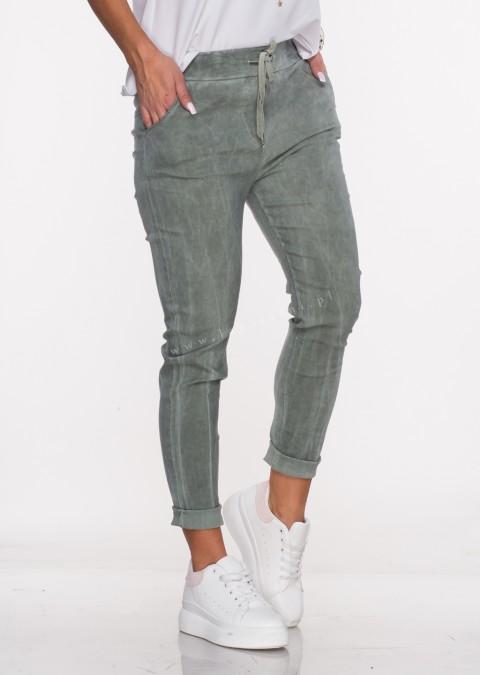 Włoskie spodnie SZNUREK khaki