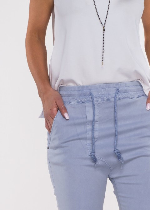 Włoskie spodnie CLADEN BAGGY niebieski/fiolet /37