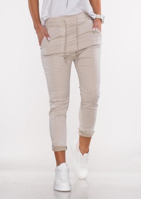 Włoskie spodnie CLADEN BAGGY beżowe/38