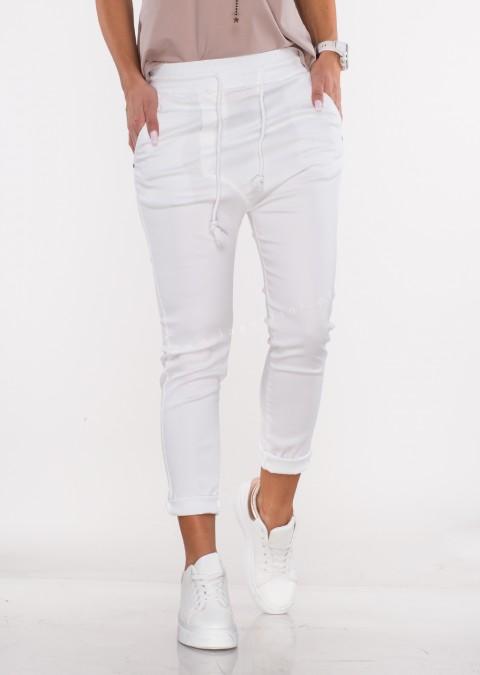Włoskie spodnie CLADEN BAGGY białe