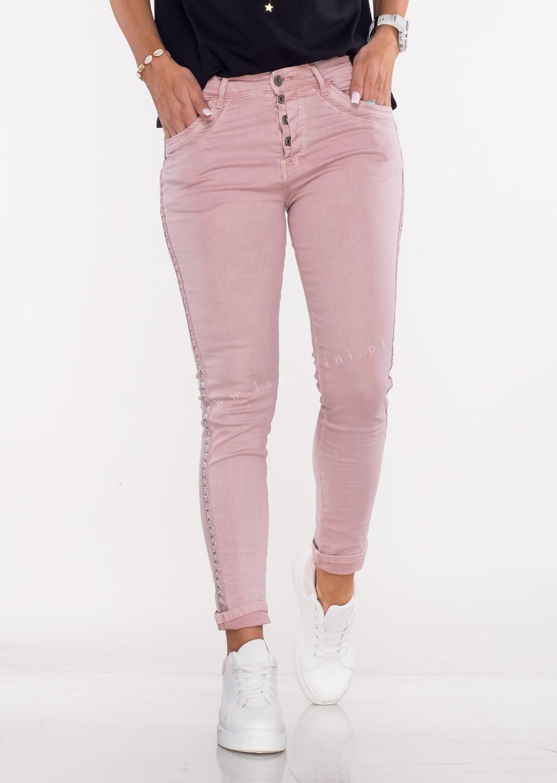 Włoskie jeansy MORESCO różówe