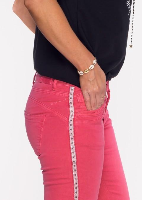 Włoskie jeansy MORESCO malinowe