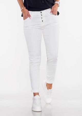 Włoskie jeansy MORESCO białe