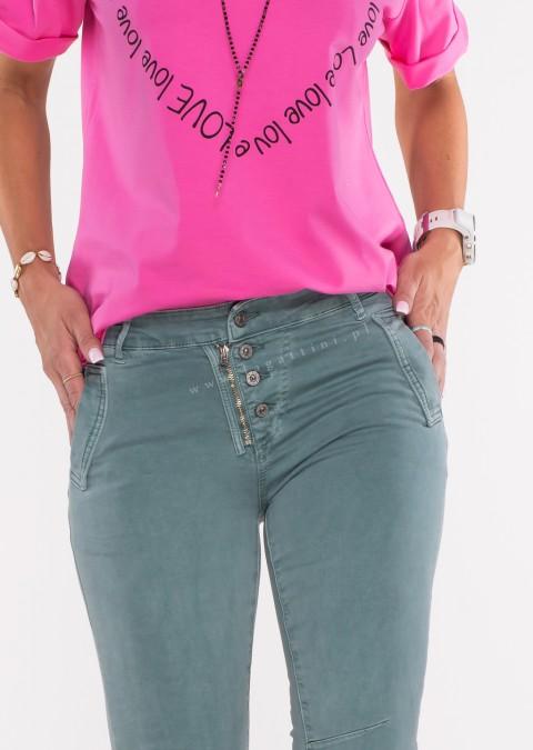Włoskie jeansy LAGGIO ZAMEK&GUZIKI morskie