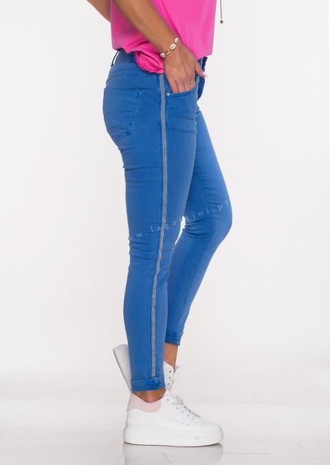 Włoskie jeansy ALVITO lampas chabrowy