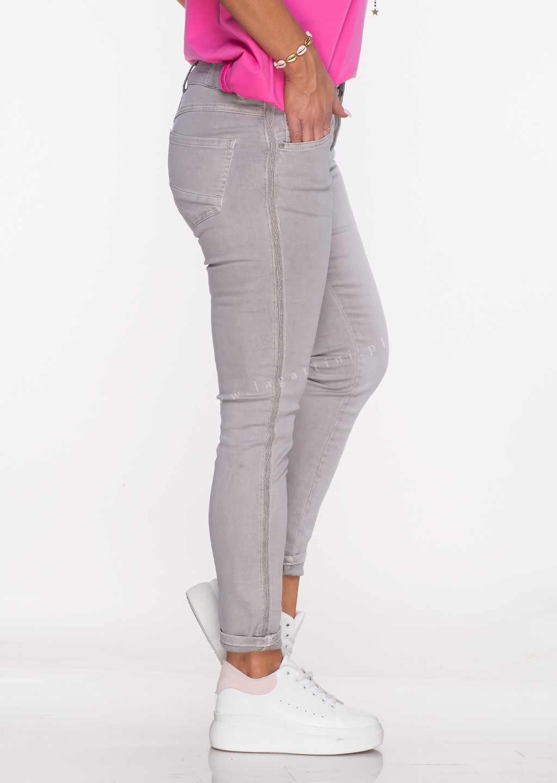 Włoskie jeansy ALVITO lampas szare /29
