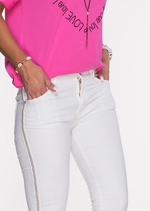 Włoskie jeansy ALVITO lampas białe