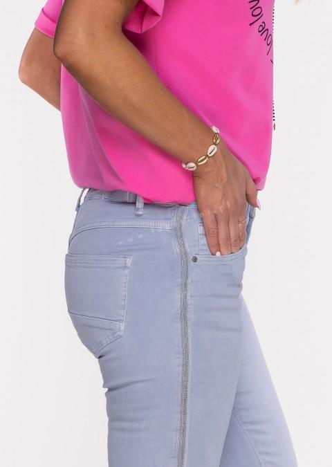 Włoskie jeansy ALVITO lampas fiolet/niebieski /37