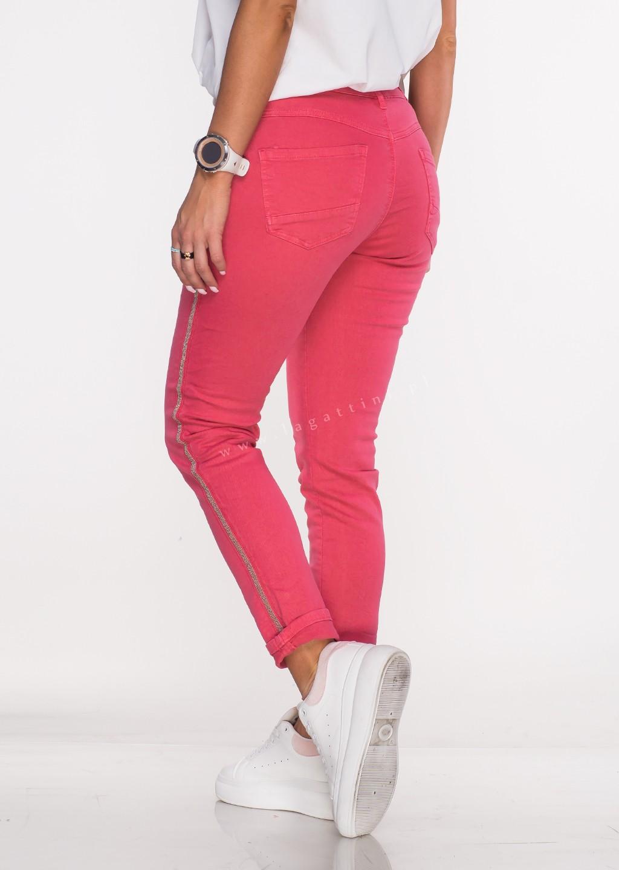 Włoskie jeansy ALVITO lampas malinowe