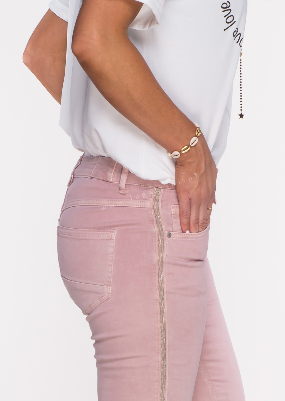 Włoskie jeansy ALVITO lampas różowe