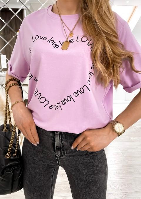 Włoski t-shirt LOVE LOVE jasny różowy