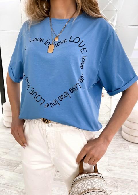 Włoski t-shirt LOVE LOVE jasny denim