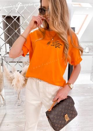 Włoski t-shirt WRITTEN pomarańczowy