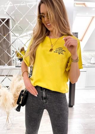 Włoski t-shirt WRITTEN żółty