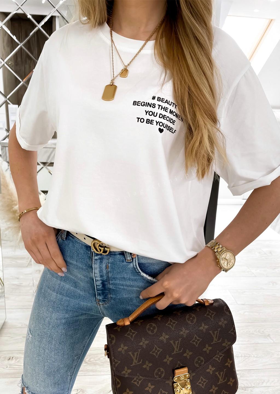 Włoski t-shirt WRITTEN biały