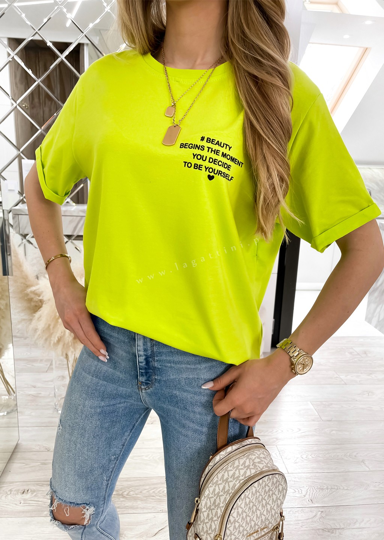 Włoski t-shirt WRITTEN limonkowy