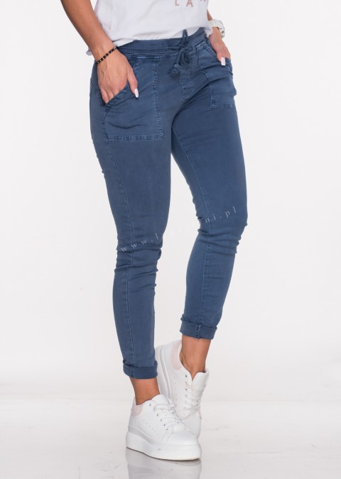 Włoskie jeansy SZNUREK PUSH UP denim /16