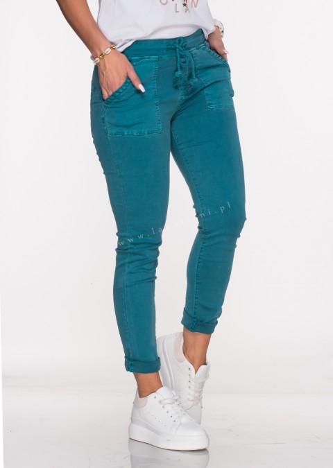 Włoskie jeansy SZNUREK PUSH UP turkusowy /65