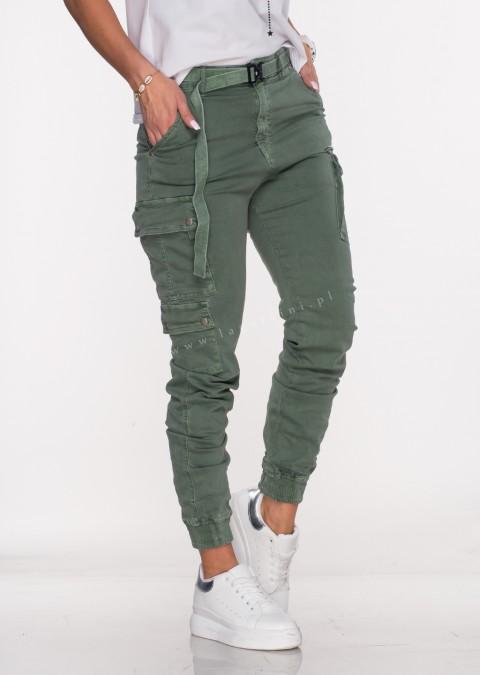 Włoskie jeansy Silver Buttons + pasek khaki