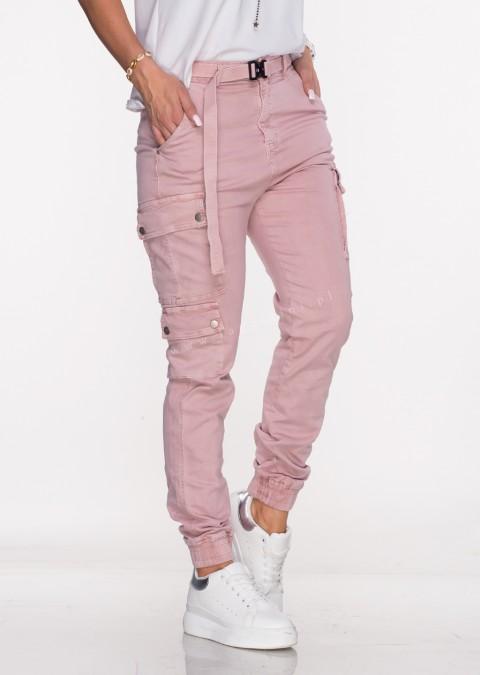 Włoskie jeansy Silver Buttons + pasek różowe