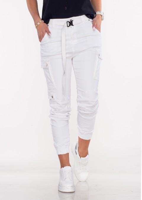Włoskie jeansy Silver Buttons + pasek białe