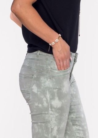 Włoskie spodnie LA ROTTA guziki khaki