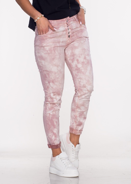 Włoskie spodnie LA ROTTA guziki różowy
