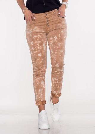Włoskie spodnie LA ROTTA guziki brązowy