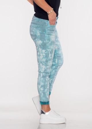Włoskie spodnie LA ROTTA guziki turkusowy