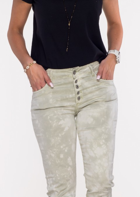 Włoskie spodnie LA ROTTA guziki oliwkowe