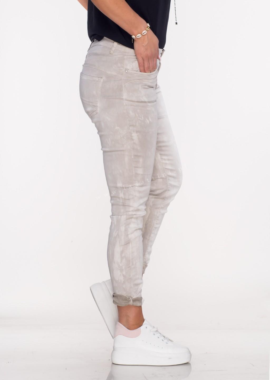 Włoskie spodnie LA ROTTA guziki beżowy