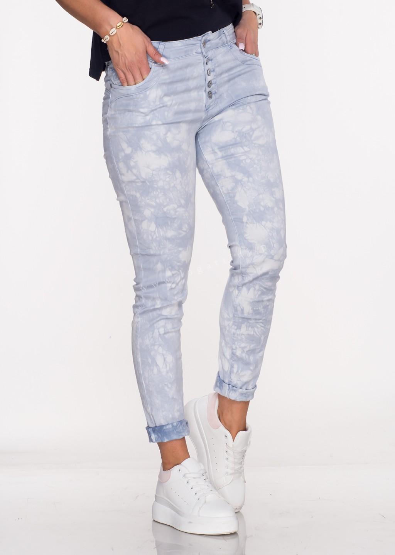 Włoskie spodnie LA ROTTA guziki niebieski/fioletowy /37