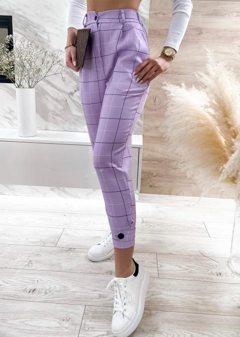 Włoskie spodnie ELEGANT VALVON w kratę fioletowe