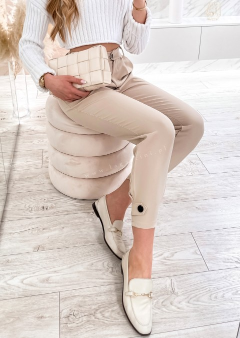 Włoskie spodnie ELEGANT VALVON beżowe