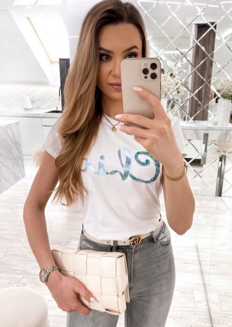 Włoski t-shirt Chic z turkusowym nadrukiem biały