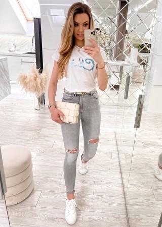 Włoski t-shirt Chic z różowym nadrukiem biały