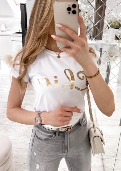 Włoski t-shirt Chic ze złotym nadrukiem biały