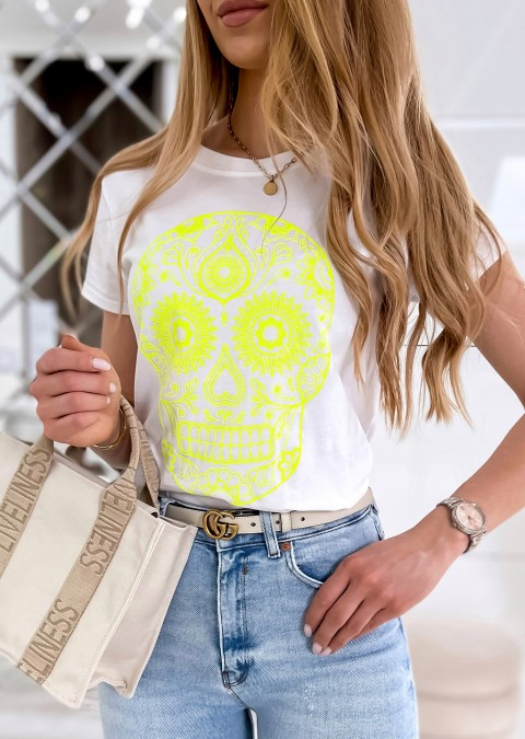 Włoski t-shirt z neonowym nadrukiem biały