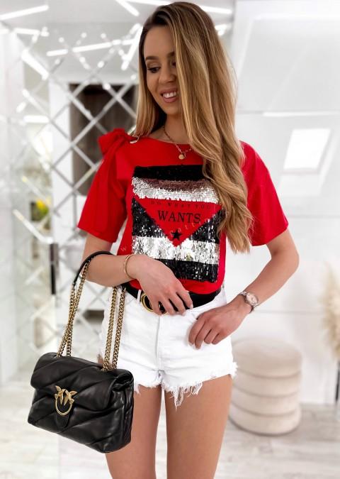 Włoski t-shirt WANTS czerwony