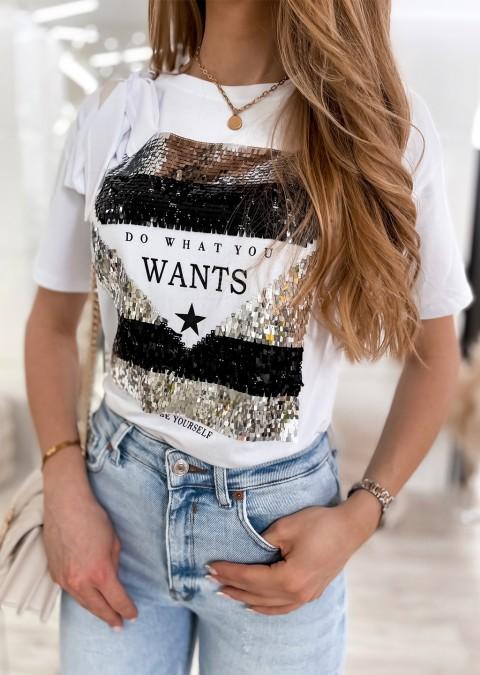 Włoski t-shirt WANTS biały