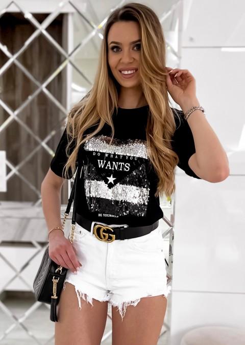 Włoski t-shirt WANTS czarny