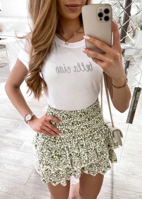 Włoski t-shirt BELLA CIAO biały/szary
