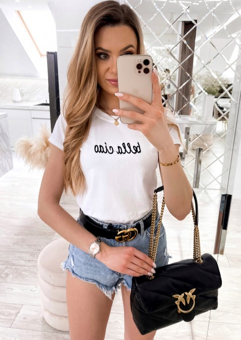 Włoski t-shirt BELLA CIAO biały/czarny