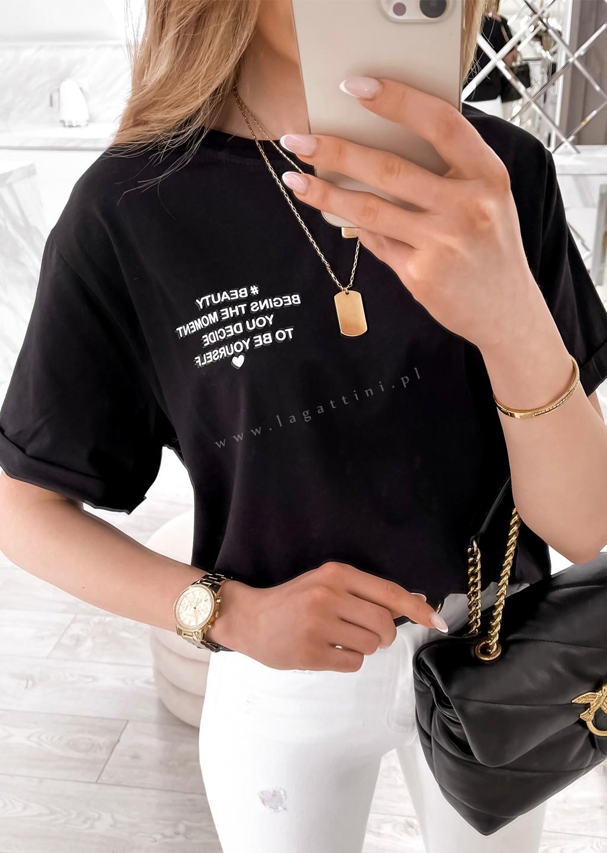 Włoski t-shirt WRITTEN fioletowy